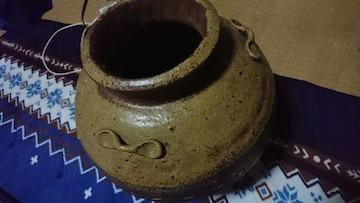 江戸時代→古丹波焼→黄褐色釉→青緑濁釉→三つ耳飾茶壺〜窯印
