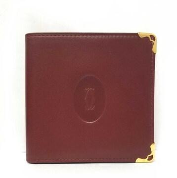 正規未使用カルティエ札入財布ボルドーレザー二つ折りメン