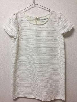 新品セシルマクビーCECILツイード半袖ミニワンピースAラインフレアミニスカート白ホワイト