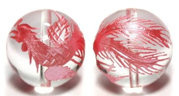 大粒!ピンクの鳳凰☆天然水晶彫りビーズ☆16mm@1個