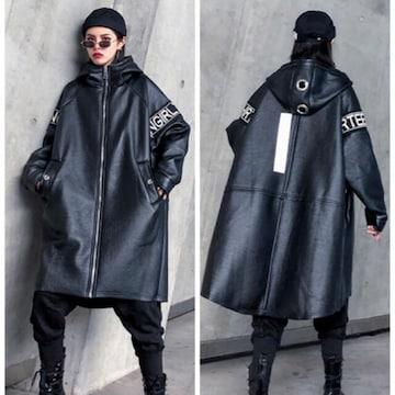 フェイクレザージャケット コート パーカー 裏ボア ブラック