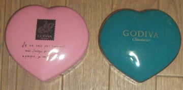 GODIVAチョコレートポットペアハート形陶器製