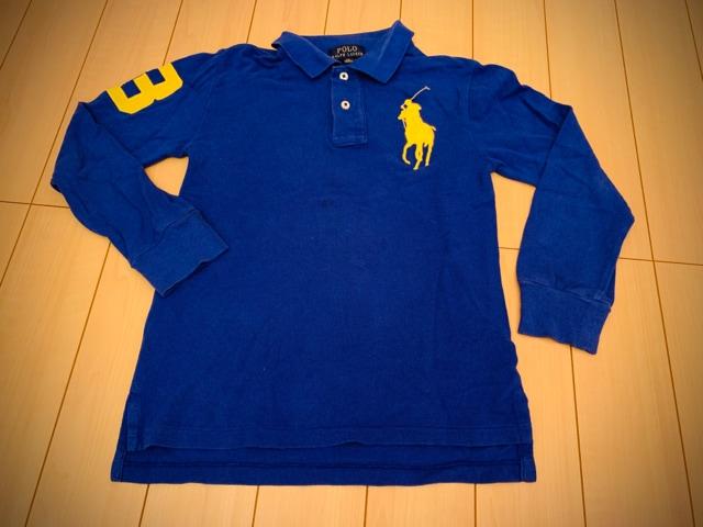 ラルフローレン 140 長袖ポロシャツ POLO 青  < ブランドの