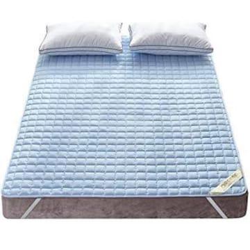 色ブルー サイズセミダブル・120X200cm 敷きパッド 綿100% 丸洗