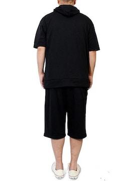 セットアップ メンズ 大きいサイズ 半袖ブラック(星条旗)
