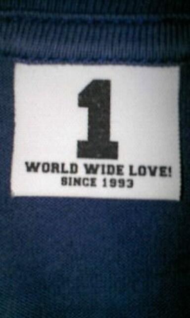 ワールドワイドラブ プリント 半袖Tシャツ Sサイズ1 紺ネイビー ロック 日本製 スター < ブランドの