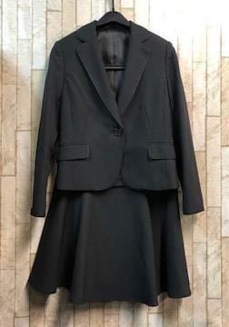 新品☆7号プチ♪黒×ストライプのフレアスカートスーツ☆s847