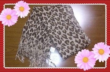 ◆新品未使用◆タグ付き:豹柄ストール