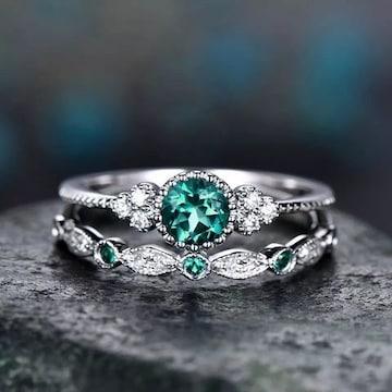 2 ピースセットグリーンストーンクリスタルリング・指輪