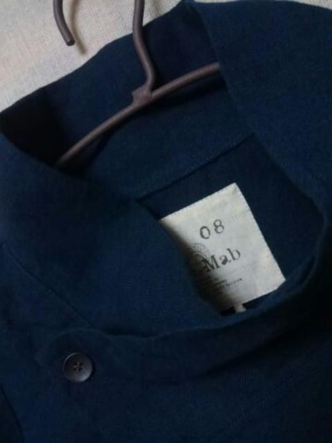 ●08Mab●リネン スタンドカラージャケット*カーデ新品9612円ネイビー  < 女性ファッションの