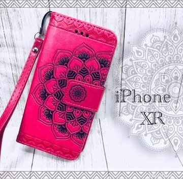 iPhoneXR 手帳型ケース 花柄 ネイティブ フィルム ピンク