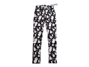 新品 定価9975円 MURUA ムルーア 白 黒 花柄 スキニー パンツ