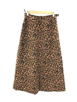 Ray BEAMS(レイビームス)フェイク スエード レオパード柄 マキシスカートフレアスカート