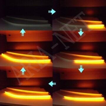 送料無料 LED ウィポジ シリコンチューブ 流れる 黄 テール用 赤