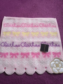 新品 CLATHAS  クレイサス タオル ハンカチ リボン ピンク