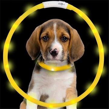 犬用 光る首輪 充電式 散歩 アウトレット品 イエロー //b6i