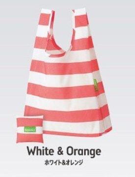 ■BAGGU/ホワイト&オレンジ収納ポーチ付★エコバッグ[未開封]ミスド限定
