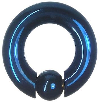 ステンレスボディピアス 0G 内径18mm ボール10mm ブルー