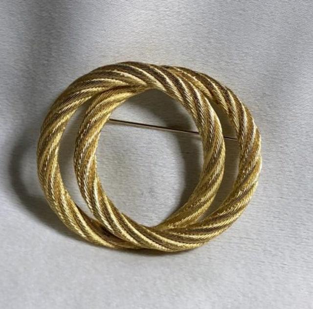 正規新古レア Diorディオール 2連ダブルオーバルブローチ ゴールド ラウンドワイヤー < ブランドの
