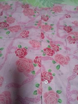 ☆新品ピンク×薔薇レースラメ入柄ダボシャツ130