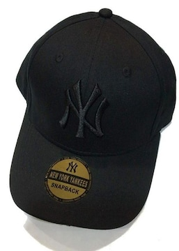 セール新品ニューヨークヤンキース★NYアジャスターキャップ帽子オールブラック