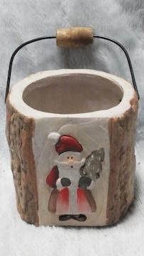 特価X'mas可愛い木と人形の陶器ポット未使用美品必見  b