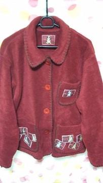 新品同様 縁取りフリースジャケット(3L〜5L)暗い赤×濃い茶・可愛い犬柄