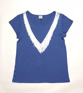 ☆アクアガールag〓白Vフリンジ〓ブルー半袖Tシャツ(M)新品〓