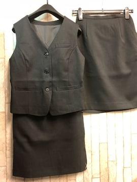新品☆9号お仕事ベストスーツ同スカート2枚付き!黒56丈☆n295
