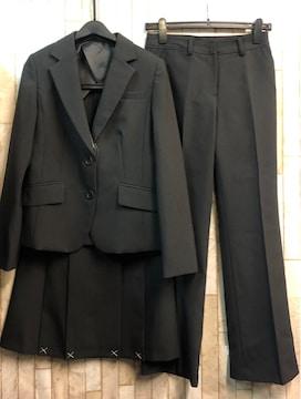 新品☆9号スーツ3点setスカート・パンツお仕事に黒股下72☆n937
