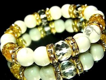 ダイヤカット水晶§ハウライトホワイトターコイズ§10ミリ§金ロンデル