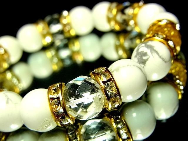 ダイヤカット水晶§ハウライトホワイトターコイズ§10ミリ§金ロンデル < 女性アクセサリー/時計の