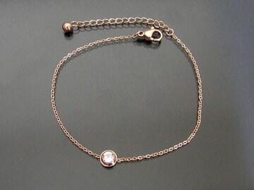 18金ピンクゴールドフィルド シンプル ダイヤ ブレスレット