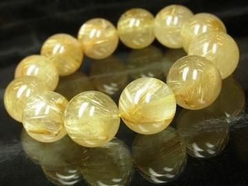 ハイクォリティー!!金針水晶ゴールドルチル18mm数珠ブレスレット!!金運上昇