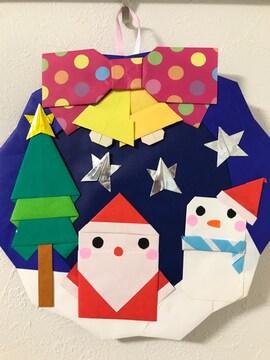 折り紙クリスマスリース/サンタと雪だるま/ハンドメイド