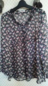 ELLE中古美品チュニックブラックにパープル系花柄38