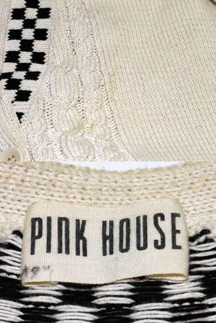 PINK HOUSE ピンクハウス カーディガン アイボリー×ブラック < ブランドの