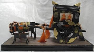 伝統工芸!雛人形/小道具「牛車」立傘付本金箔チラシ中古