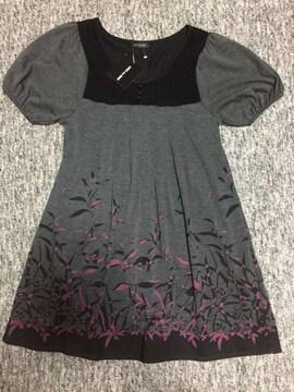 グレー系 半袖チュニック紫の花模様と黒のニット編がお洒落 M