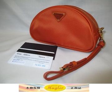 新品 PRADA プラダ 1N1867 ポーチ オレンジ ストラップ付 本物