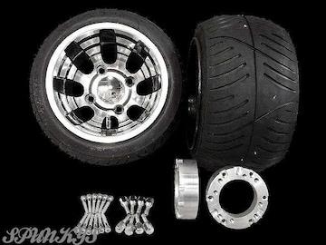ジャイロ用ブラックホイール扁平タイヤ&スペーサー40mm