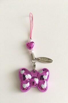 ミニーちゃんリボンストラップミラーピンク紫鏡Disnyディズニー