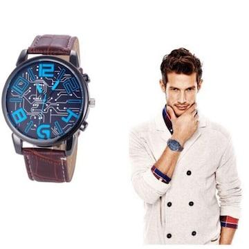 腕時計 メンズ  高品質レザー 革 ベルト ウォッチ 茶色