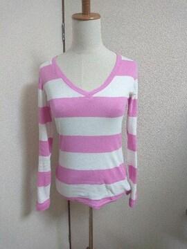 GAP☆ギャップ☆ピンク☆ボーダー☆Vネック☆ロングTシャツ