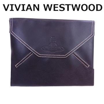 ヴィヴィアン VIVIAN WESTWOOD レザー セカンドバッグ クラッチ 黒★dot