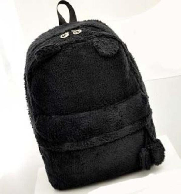 *大容量★可愛いファーくまクマ耳リュック BAG バッグ 黒 ブラック 即決 < 女性ファッションの