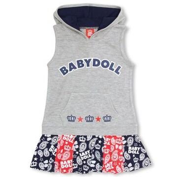 新品BABYDOLL☆ペイズリー フード付きワンピース 110 ベビードール