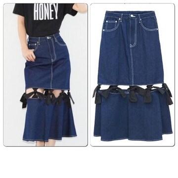 美品Honey mi Honey  ハニーミーハニー リボンデニムスカート