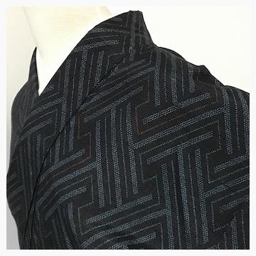 特選 美品 身丈162 裄64 紬 幾何学織り出し 袷 正絹(黒)