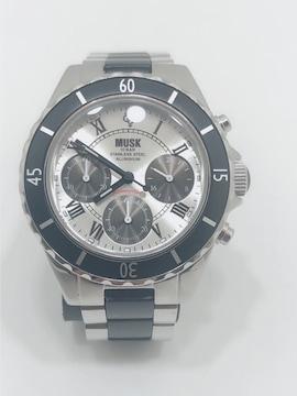 T223美品 MUSK ムスク 腕時計 クロノグラフ メンズ クォーツ